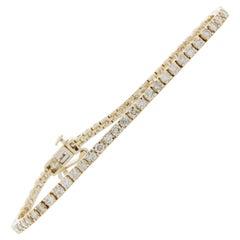 3.00 Carat 4-Prong Round Diamond Tennis Bracelet in 14 Karat Yellow Gold