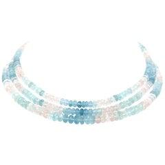 300 Carat Aqua and Pink Topaz Necklace