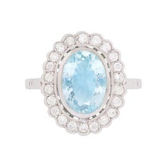 3.00 Carat Aquamarine and Diamond Halo Ring, circa 1950s