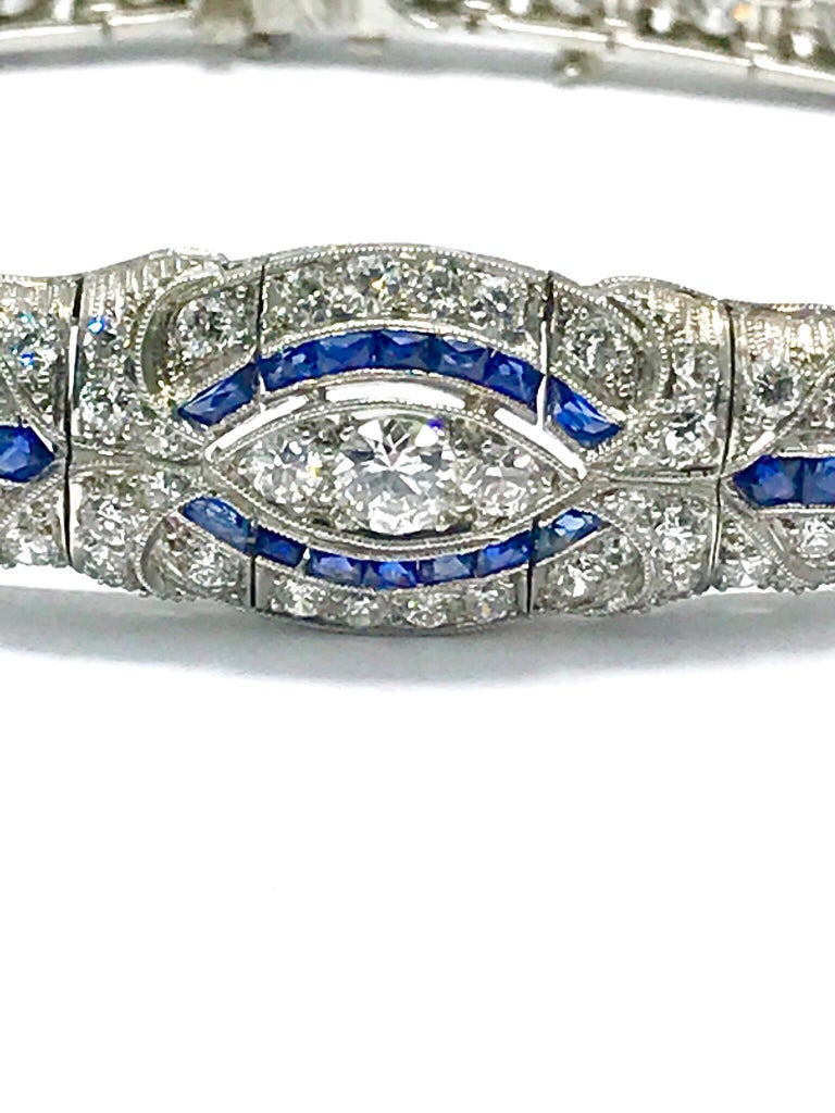 Round Cut 3.00 Carat Art Deco Diamond and Sapphire Platinum Bracelet For Sale