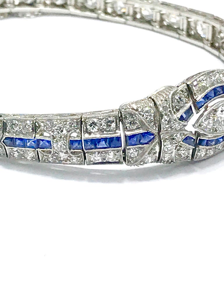 3.00 Carat Art Deco Diamond and Sapphire Platinum Bracelet In Excellent Condition In Washington, DC
