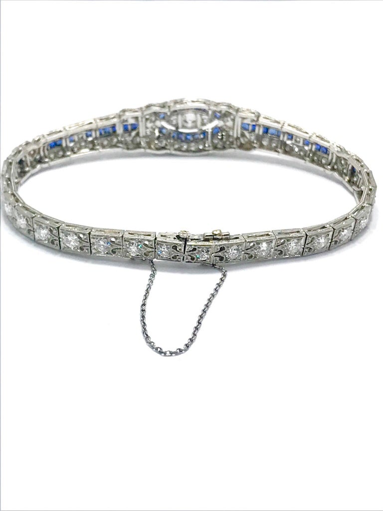 Women's or Men's 3.00 Carat Art Deco Diamond and Sapphire Platinum Bracelet For Sale
