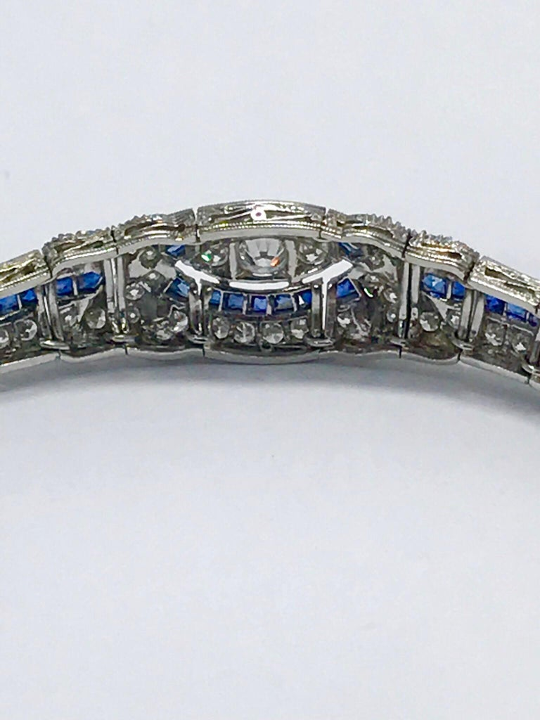 3.00 Carat Art Deco Diamond and Sapphire Platinum Bracelet For Sale 3