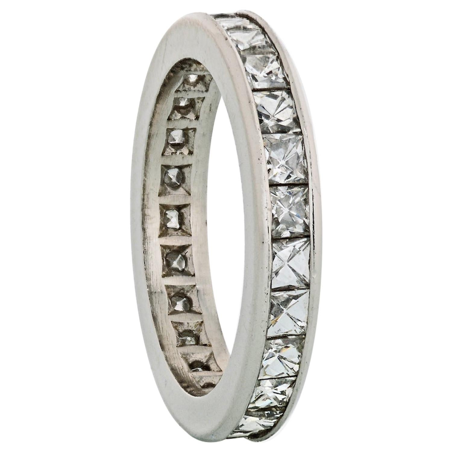 3.00 Carat Channel Set French Cut Diamond Platinum Eternity Band