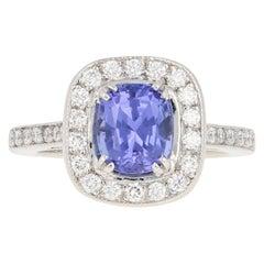 3.00 Carat Cushion Tanzanite and Diamond Halo Ring, 950 Platinum Engagement GIA