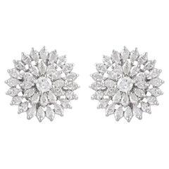 3.00 Carat Diamond 14 Karat White Gold Floral Stud Earrings