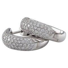 3.00 Carat Diamond 18 Karat White Gold Hoop Earrings