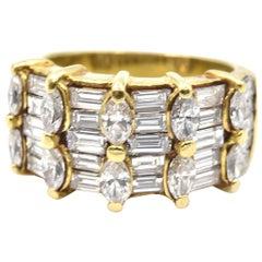 3,00 Karat Diamant 18 Karat Gelbgold Breites Band