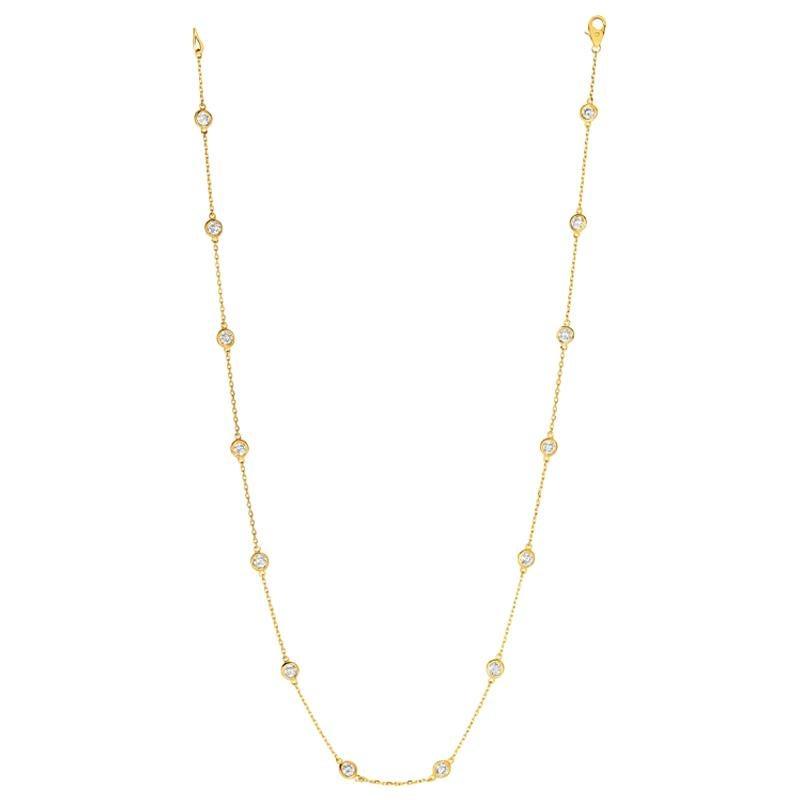 3.00 Carat Diamond by the Yard Necklace G SI 14 Karat Yellow Gold 14 Stones