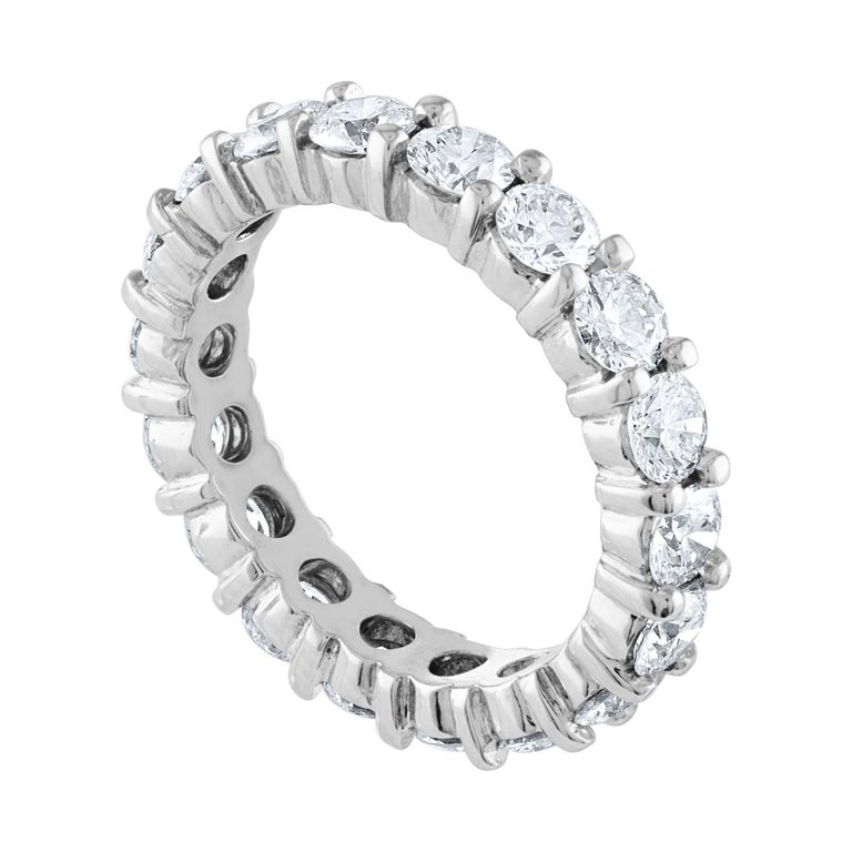 Beautiful Eternity Ring The ring is 14K White Gold There are 3.00 Carats In Diamonds F/G VS The diamonds are round brilliant The ring weighs 4.2 grams The ring is a size 5.50, not sizable.