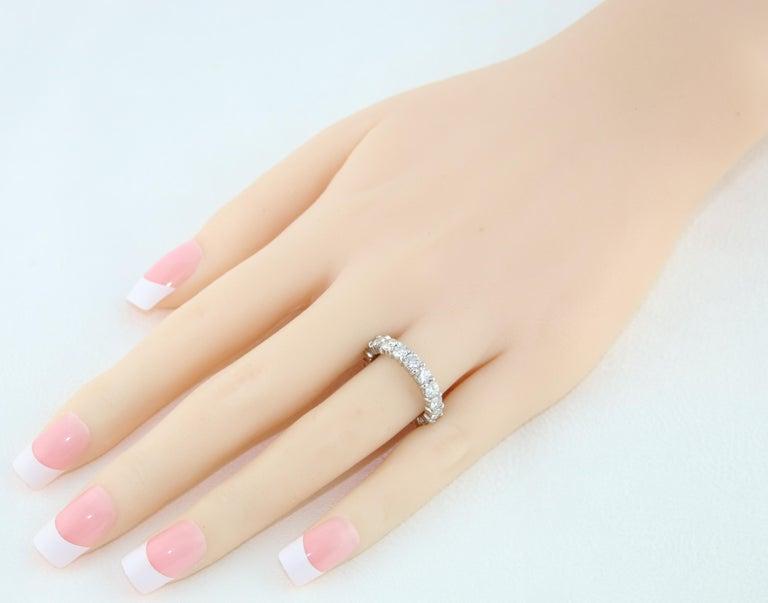 Round Cut 3.00 Carat Diamond Eternity Gold Ring For Sale