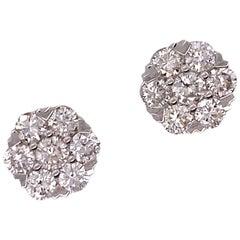 3.00 Carat Diamond Flourette Stud Modern Earrings 18 Karat White Gold
