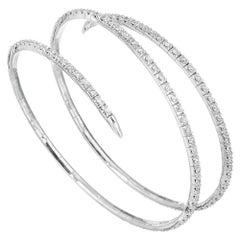 3.00 Carat Diamond White Gold Coiled Slip On Bracelet
