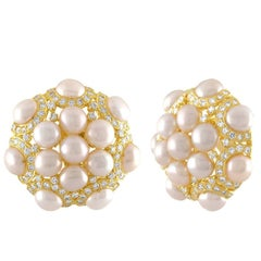 3.00 Carat Diamonds and Pearls Clip-On Gold Button Earrings