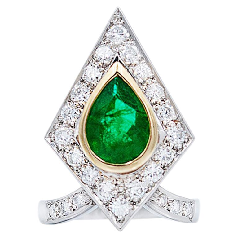 3.00 Carat Emerald Diamond Platinum Ring