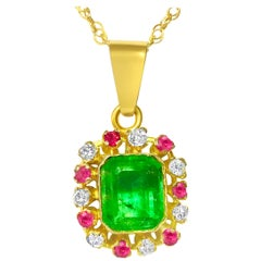 3.00 Carat Emerald Ruby Diamond Multi Gemstone Pendant 18 Karat Gold