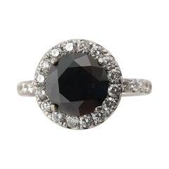 3.00 Carat Fancy Black Round Diamond Engagement Wedding White Gold Ring EGL, USA