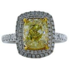 3.00 Carat Fancy Yellow Cushion Shape VS1 Diamond Reversible Ring Pendant 18K