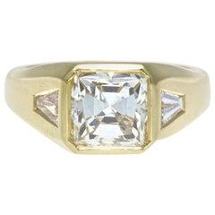 3.00 Carat GIA Square Cut Diamond 18 Karat Gold Ring