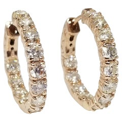 3.00 Carat Huggie Diamond Hoops Earrings 14 Karat Rose Gold