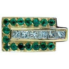 3.00 Carat Natural 3D Retro Deco Step Emerald Diamond Ring 14 Karat VS