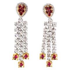 3.00 Carat Natural Deep Red Ruby Diamond by Yard Dangle Earrings 14 Karat