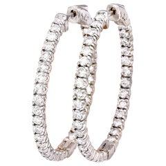 3.00 Carat Natural Diamond 18 Karat Solid White Gold Earrings