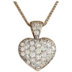 3.00 Carat Natural Diamond 18 Karat Solid White Gold Pendant Necklace