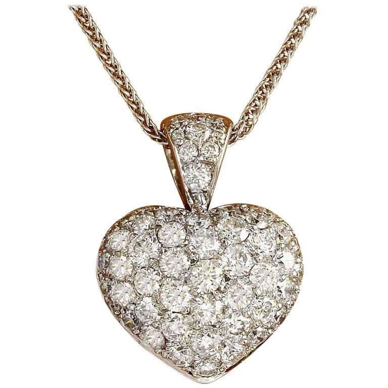 3.00 Carat Natural Diamond 18 Karat Solid White Gold Pendant Necklace For Sale