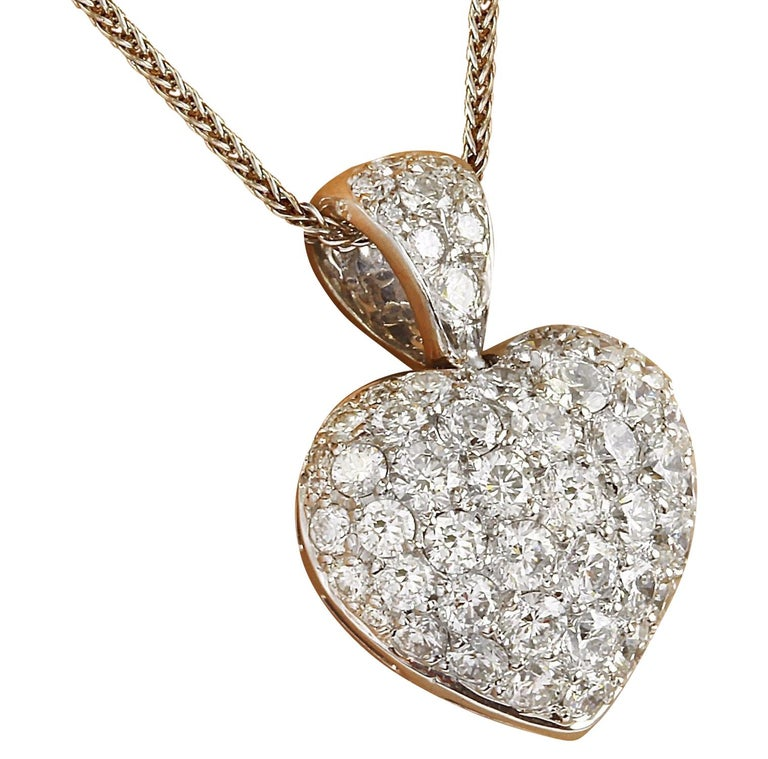 3.00 Carat Natural Diamond 18K Solid White Gold Pendant Necklace  Item Type: Necklace  Item Style: Heart  Item Length: 17 Inches  Material: 18K White Gold  Mainstone: Diamond  Stone Color: F-G  Stone Clarity: VS2-SI1  Stone Weight: 3.00 Carat  Stone