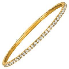 3.00 Carat Natural Diamond Flexible Tennis Bracelet G SI 14 Karat Yellow Gold