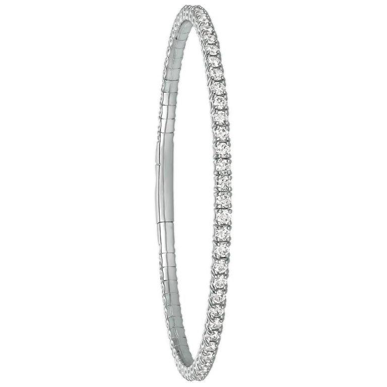 Round Cut 3.00 Carat Natural Diamond Flexible Tennis Bracelet G SI 14 Karat White Gold For Sale