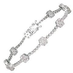 3.00 Carat Natural Diamond Flower Bracelet G SI 14 Karat White Gold