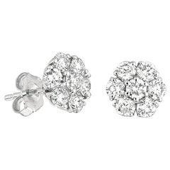 3.00 Carat Natural Diamond Flower Cluster Earrings G SI 14 Karat White Gold