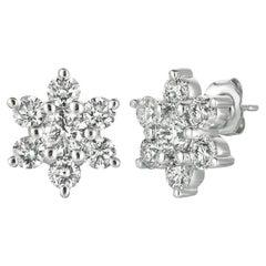 3.00 Carat Natural Diamond Flower Cluster Earrings G SI 14K White Gold