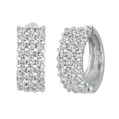 3.00 Carat Natural Diamond Hoop Earrings G SI 14k White Gold