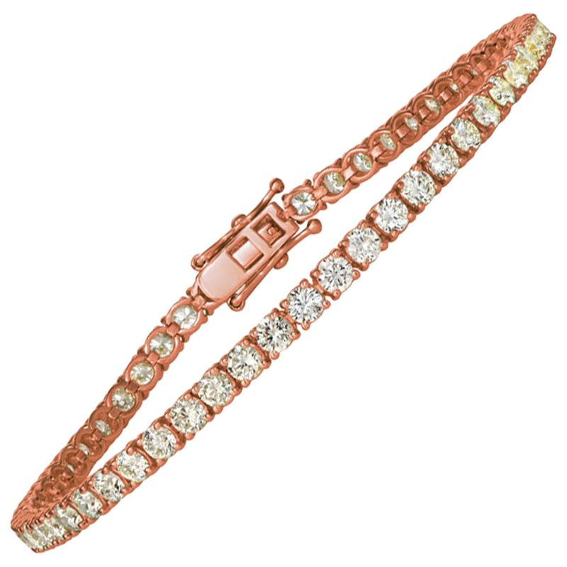 3.00 Carat Natural Diamond Tennis Bracelet G SI 14 Karat Rose Gold
