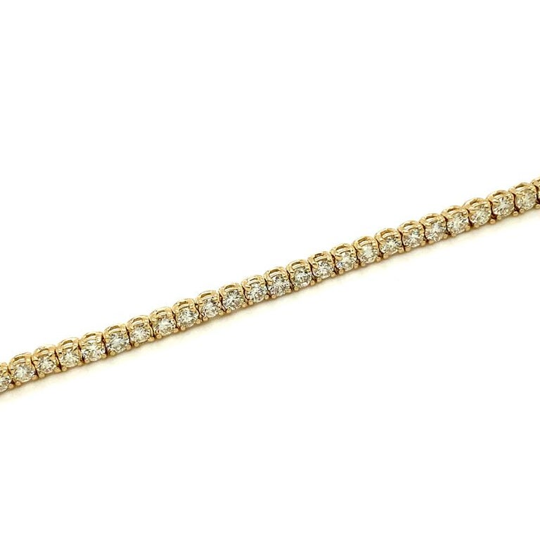 Women's 3.00 Carat Natural Diamond Tennis Bracelet G SI 14 Karat Yellow Gold For Sale