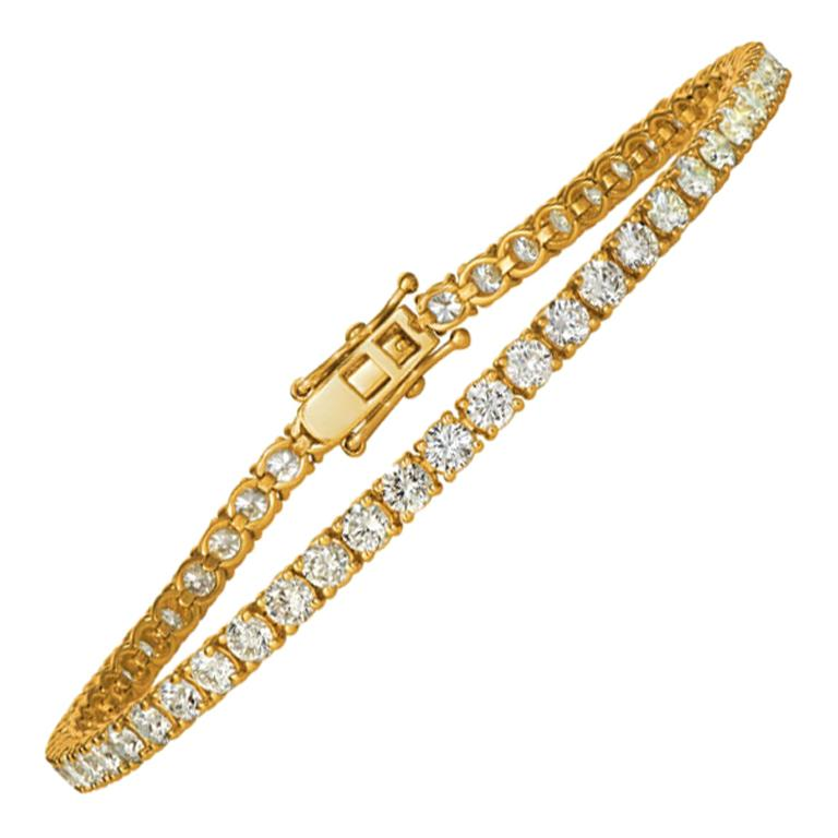 3.00 Carat Natural Diamond Tennis Bracelet G SI 14 Karat Yellow Gold For Sale