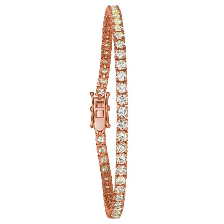Round Cut 3.00 Carat Natural Diamond Tennis Bracelet G SI 14 Karat Rose Gold For Sale