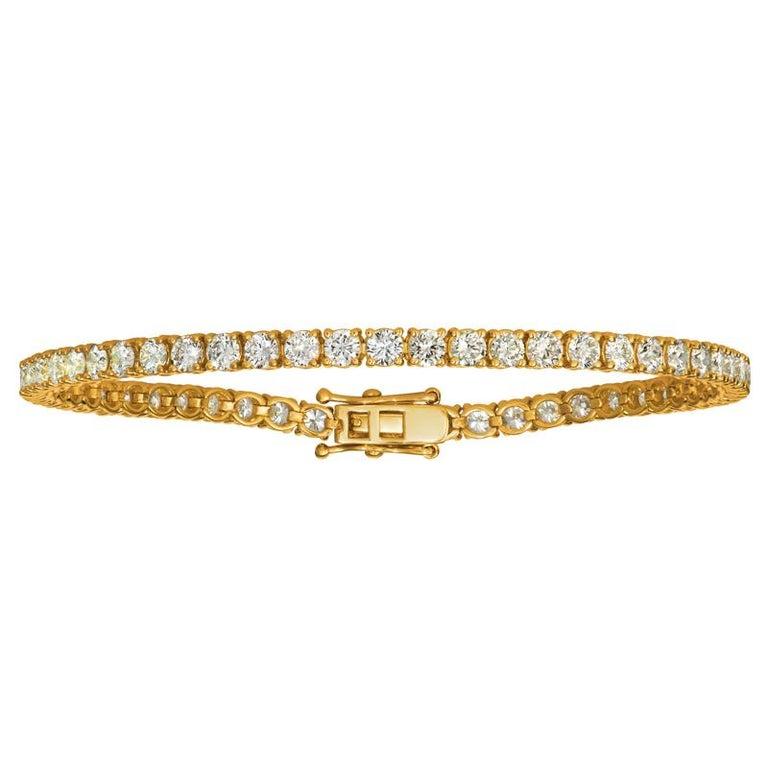 Contemporary 3.00 Carat Natural Diamond Tennis Bracelet G SI 14 Karat Yellow Gold For Sale
