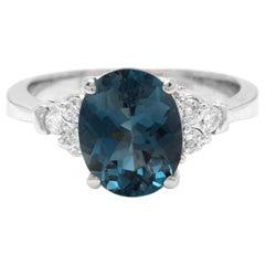 3.00 Carat Natural Impressive London Blue Topaz and Diamond 14k White Gold Ring