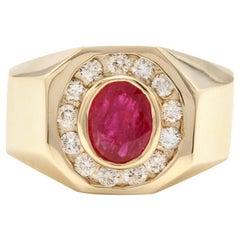 3.00 Carat Natural Ruby and Diamond 14 Karat Solid Yellow Gold Men's Ring