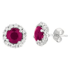 3.00 Carat Natural Ruby and Diamond Earrings G SI 14 Karat White Gold