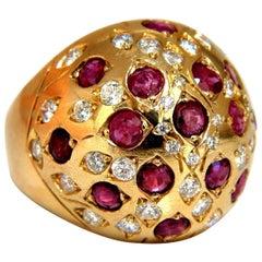 3.00 Carat Natural Ruby Diamond Domed Ring Gypsy 14 Karat