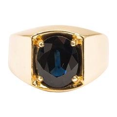 3.00 Carat Oval Australian Sapphire Men's Signet Vintage 18 Carat Gold Ring