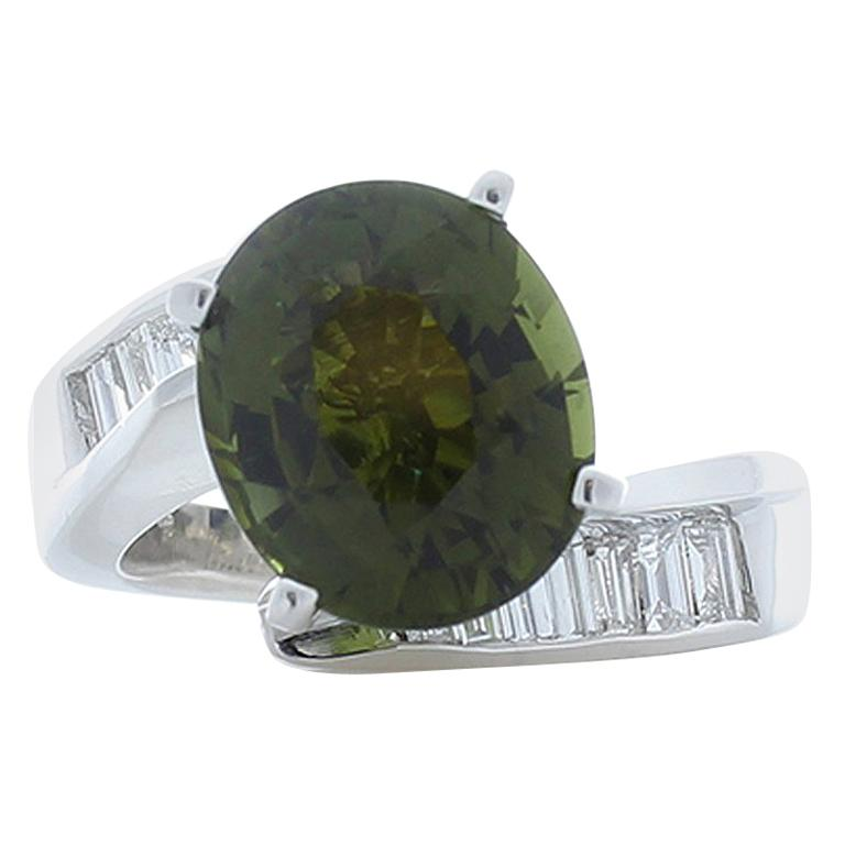 3.00 Carat Oval Tourmaline and Baguette Diamond Cocktail Ring in Platinum