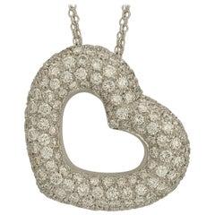 3.00 Carat Pave Diamond Heart Necklace
