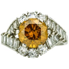 3.00 Carat Platinum GIA Fancy Colored Natural Orange Diamond Ring