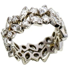 3.00 Carat Platinum Marquise Round Diamond Eternity Band